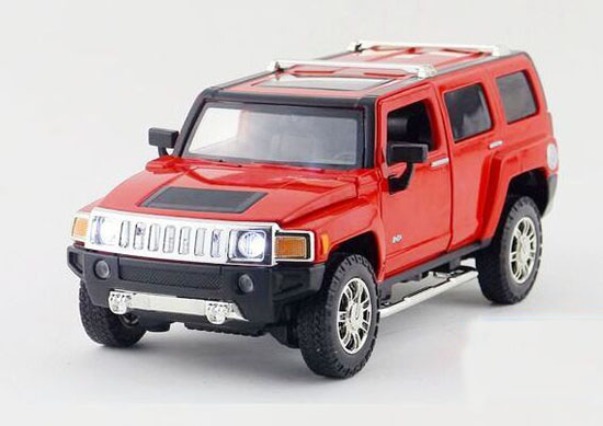 Kids 1:24 Scale Yellow / Red Diecast Hummer H3 Toy