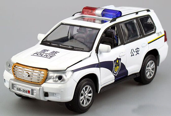 Kids White 1:32 Scale Police Diecast Toyota Land Cruiser Toy