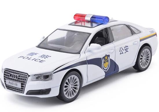 White 1:32 Scale Kids Police Diecast Audi A8 Toy