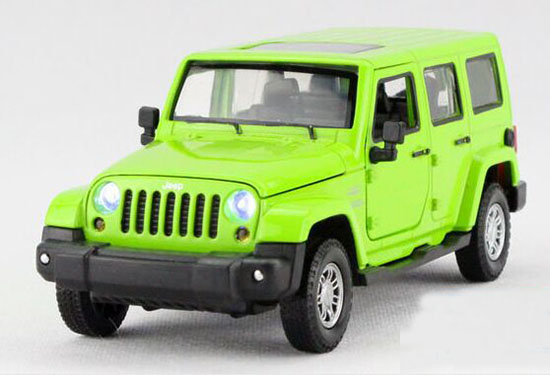 Yellow / Red / Green Kids 1:32 Diecast Jeep Wrangler Toy