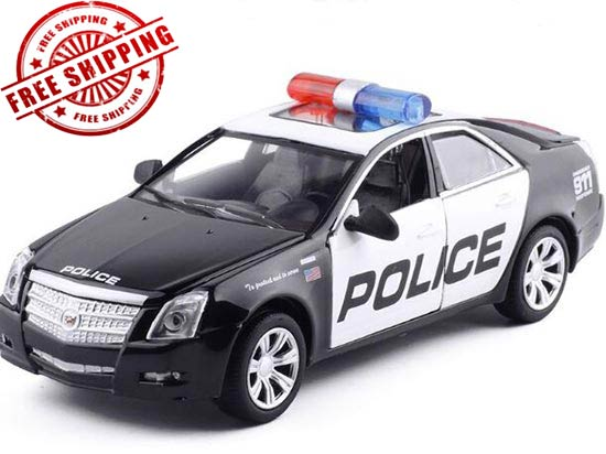 Kids 1:32 Black Police Diecast Cadillac CTS Toy