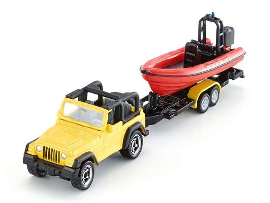 Mini Scale Kids Yellow SIKU 1658 Diecast Jeep With Boat Toy