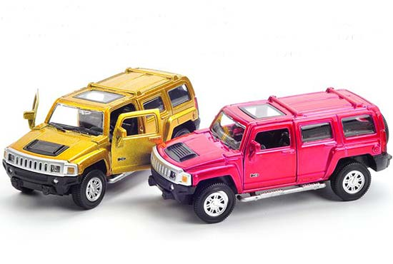 1:43 Scale Red/ Golden Kids Diecast Hummer H3 Toy
