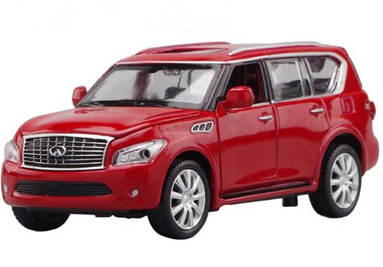 1:32 Scale Kids Red / Blue / White Diecast Infiniti QX56 Toy