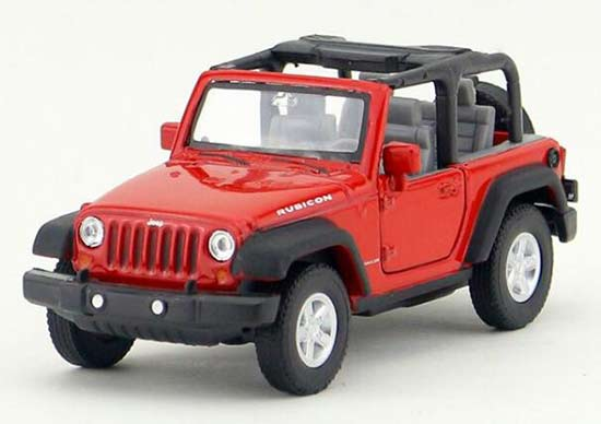 Red Kids 1:36 Welly Diecast Jeep Wrangler Rubicon Toy