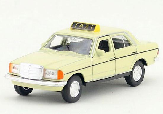 Welly White Kids 1:36 Diecast Mercedes Benz W123 Taxi Toy