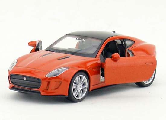 Welly 1:36 Orange / White Kids Diecast Jaguar F-Type Coupe Toy