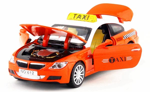 Yellow / Green / Red / Orange Kids Diecast BMW M6 Taxi Toy