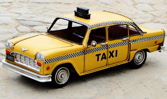 Handmade Bright Yellow Tinplate Vintage U.S. Taxi Model