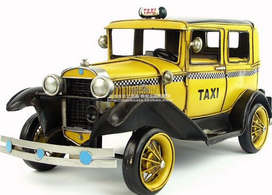 Yellow Tinplate Medium Size Vintage 1931 Ford Taxi Model