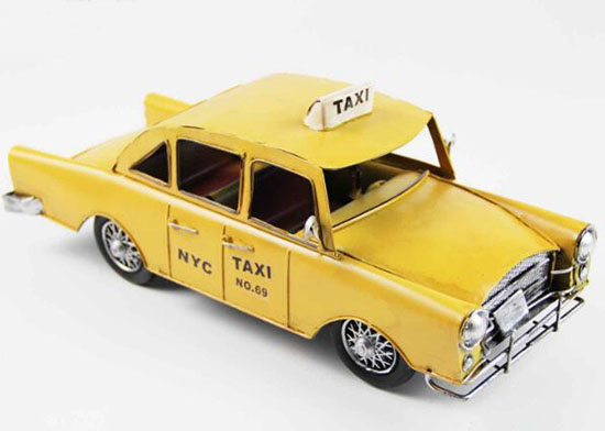 Tinplate Yellow Medium Scale Vintage NYC Taxi Model