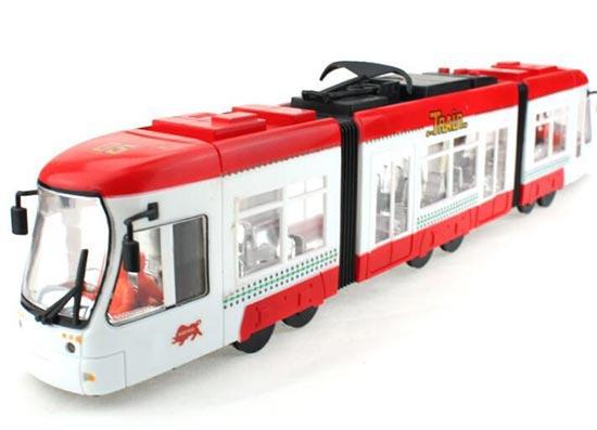 Kids Red-White Large Scale Plastic City Tram Toy