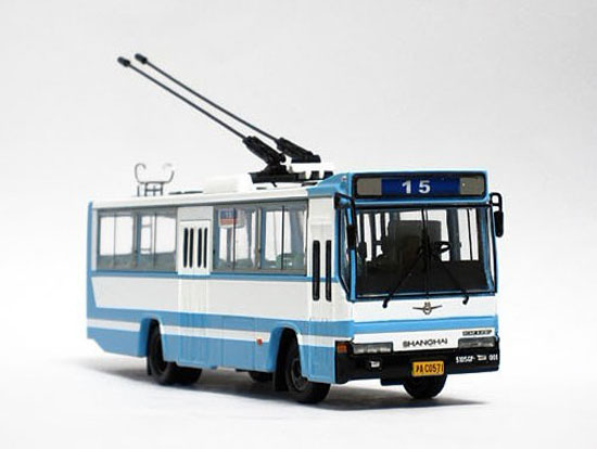 1:76 Scale Blue-White NO.15 Die-Cast ShangHai Tram Model