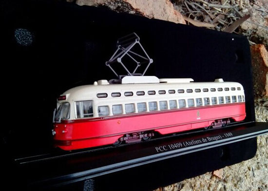 1:87 Scale Red-White PCC 10409 Atelies Bruges 1949 Tram Model